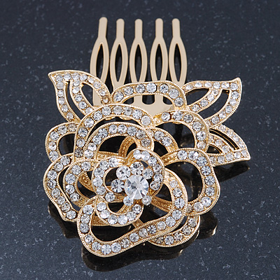 Bridal/ Wedding/ Prom/ Party Gold Plated Clear Swarovski Sculptured Rose Crystal Hair Comb - 50mm
