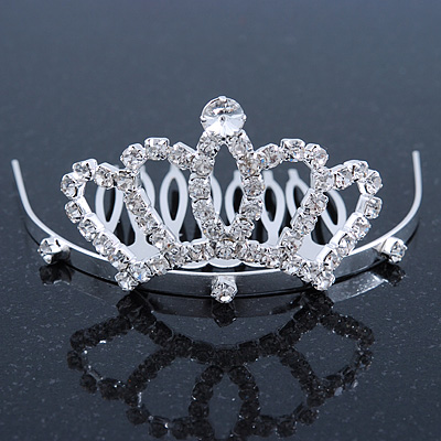 Fairy Princess Bridal/ Wedding/ Prom/ Party Rhodium Plated Swarovski Crystal Mini Hair Comb Tiara - 70mm