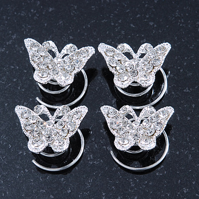Bridal/ Wedding/ Prom/ Party Set Of 4 Rhodium Plated Crystal 'Butterfly' Spiral Twist Hair Pins