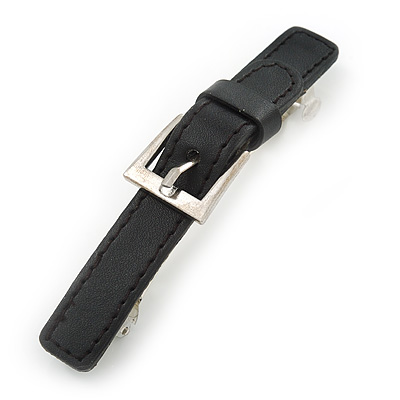 Black Faux Leather 'Buckle' Barrette Hair Clip Grip - 105mm Across