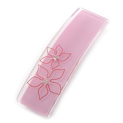 Light Pink Floral Plastic Barrette Hair Clip Grip - 10cm Across