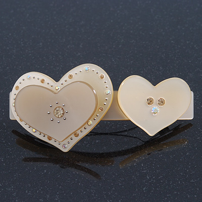 Sand Coloured Crystal 'Double Heart' Plastic Barrette Hair Clip Grip - 85mm Across
