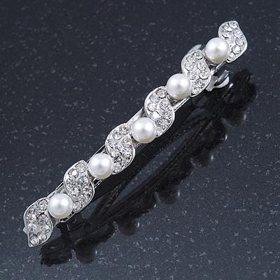 Bridal Wedding Prom Silver Tone Glass Pearl Crystal Barrette Hair Clip Grip - 80mm Width