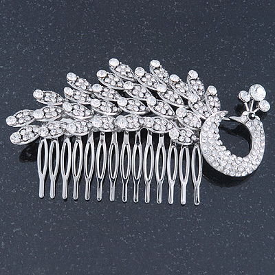 Statement Bridal/ Wedding/ Prom/ Party Rhodium Plated Clear Swarovski Sculptured 'Peacock' Crystal Side Hair Comb - 12cm Width