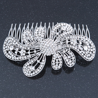 Statement Bridal/ Wedding/ Prom/ Party Rhodium Plated Clear Swarovski Sculptured 'Bow' Crystal Side Hair Comb - 11.5cm Width