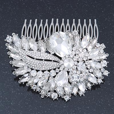 Bridal/ Wedding/ Prom/ Party Rhodium Plated Clear Swarovski Sculptured Leaf Crystal Hair Comb - 100mm