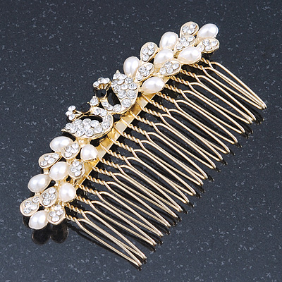 Bridal/ Wedding/ Prom/ Party Gold Plated Clear Crystal, Simulated Pearl 'Double Peacock' Hair Comb - 95mm