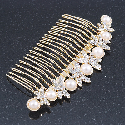 Avalaya Bridal/Wedding/Prom/Party Rhodium Plated Clear Crystal, Simulated Pearl 'Feather' Hair Comb - 100mm