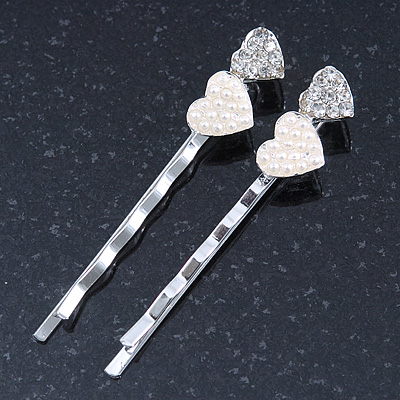 2 Bridal/ Prom Crystal, Simulated Pearl 'Double Heart' Hair Grips/ Slides In Rhodium Plating - 55mm Across