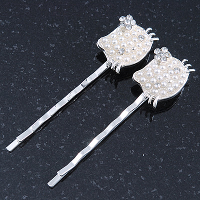 2 Teen Simulated Pearl, Crystal 'Kitty' Hair Grips/ Slides In Rhodium Plating - 55mm Across