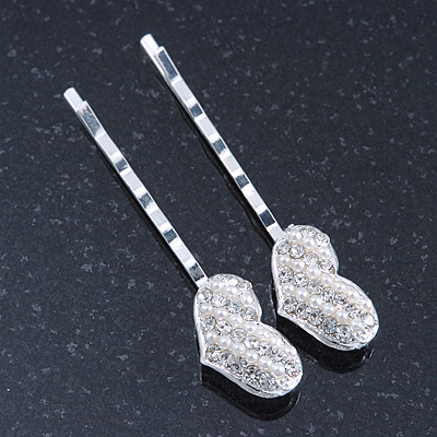2 Bridal/ Prom Crystal, Simulated Pearl 'Heart' Hair Grips/ Slides In Rhodium Plating - 55mm Across