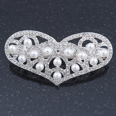 Bridal Wedding Prom Silver Tone Simulated Pearl Diamante 'Heart' Barrette Hair Clip Grip - 65mm Across