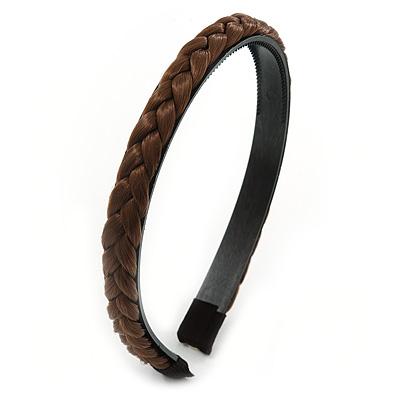 Brown Fake Silk Hair Plait Flex Hairband