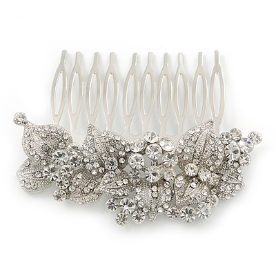 Bridal/ Wedding/ Prom/ Party Rhodium Plated Austrian Clear Crystal 'Leaves & Flowers' Hair Comb - 80mm