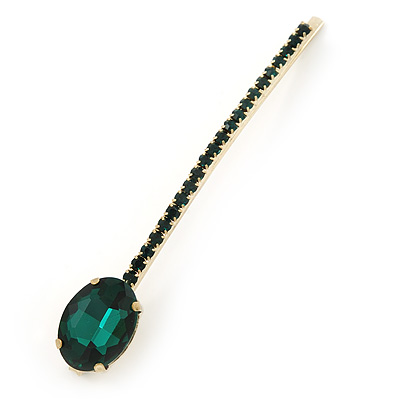 1Pcs Long Emerald Green Oval Glass Stone Hair Grip/ Slide In Gold Plating - 85mm Across