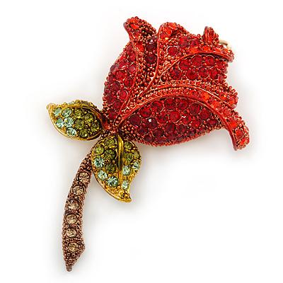 Red/ Green/ Brown Austrian Crystal Rose Hair Slide/ Grip In Gold Tone Metal - 50mm Across