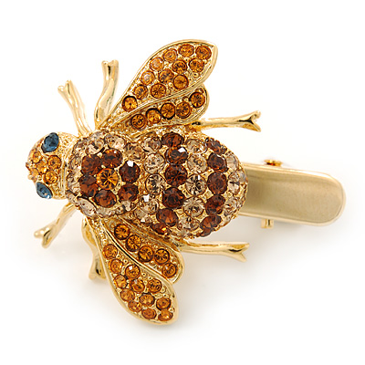 Citrine/ Topaz Coloured Austrian Crystal Bee Hair Beak Clip/ Concord Clip In Gold Tone - 40mm L