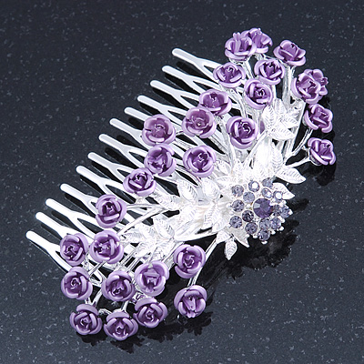 Purple Crystal 'Rose' Side Hair Comb In Silver Tone - 95mm W