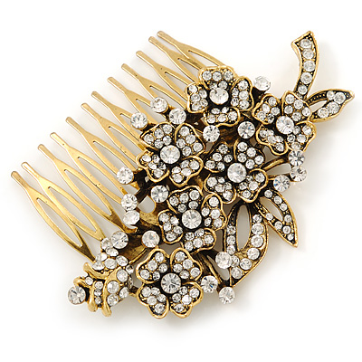 Vintage Inspired Clear Austrian Crystal 'Flowers' Side Hair Comb In Antique Gold Tone - 95mm