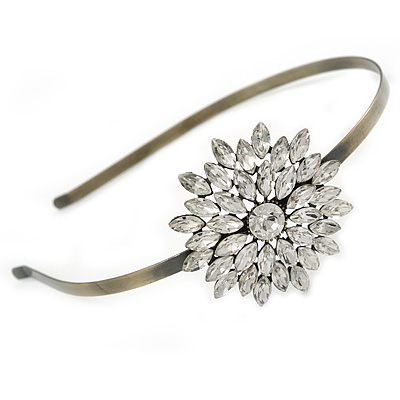Bridal/ Wedding/ Prom Clear Crystal Flower Tiara Headband In Bronze Tone Metal