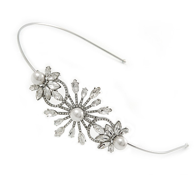 Bridal/ Wedding/ Prom Rhodium Plated White Glass Pearl, Crystal Snowflake Headband