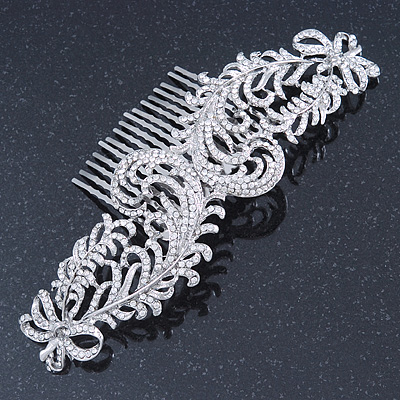 Statement Bridal/ Wedding/ Prom/ Party Rhodium Plated Clear Austrian Crystal Double Feather Side Hair Comb - 16cm W