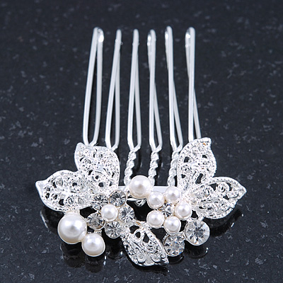 Bridal/ Wedding/ Prom/ Party Rhodium Plated White Simulated Pearl, Clear Crystal Mini Hair Comb - 35mm W