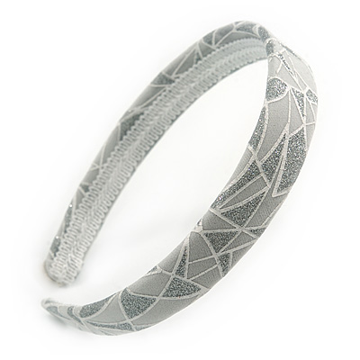 Light Grey/ Glitter Geometric Pattern Fabric Flex HeadBand