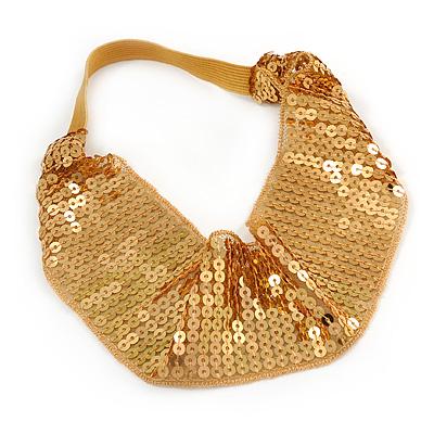 Retro/ Disco Gold Sequin Wide Elastic Headband/ Headwrap