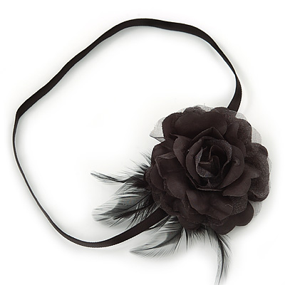 Black Silk Rose Flower with Feather Elastic Headband/ Headwrap