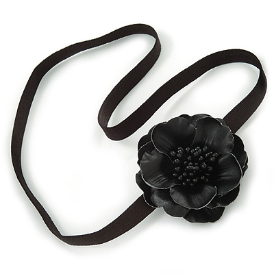 Black Leather Poppy Flower Elastic Headband/ Headwrap