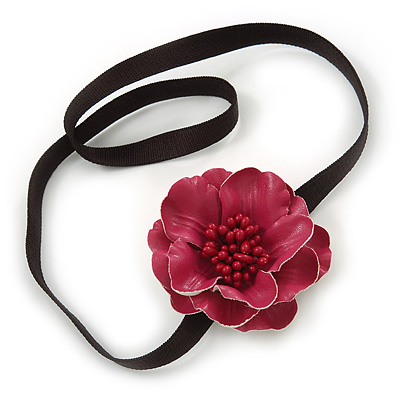 Red Leather Poppy Flower Elastic Headband/ Headwrap
