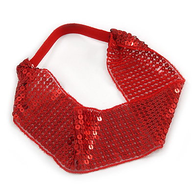 Retro/ Disco Hot Red Sequin Wide Elastic Headband/ Headwrap