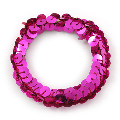 Magenta Sequin Hair Elastic
