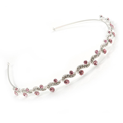 Bridal/ Wedding/ Prom Rhodium Plated Clear/ Pink Crystal Tiara Headband