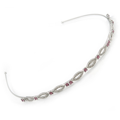 Bridal/ Wedding/ Prom Rhodium Plated Clear/ Purple Crystal Tiara Headband