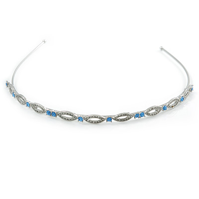 Bridal/ Wedding/ Prom Rhodium Plated Light Blue/ Clear Crystal Tiara Headband