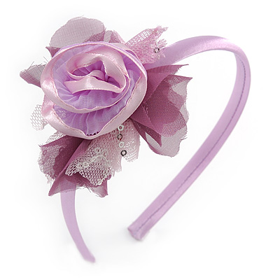 Thin Pink Silk Rose Flower Alice/ Hair Band/ HeadBand