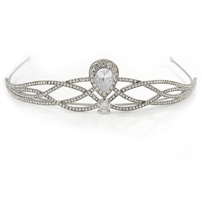Bridal/ Wedding/ Prom Rhodium Plated CZ, Clear Crystal 'Regal' Classic Tiara - main view