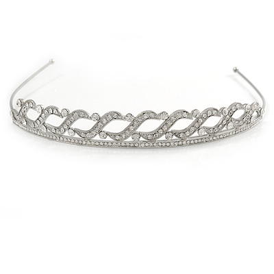 Bridal/ Wedding/ Prom Rhodium Plated Clear Crystal Braided Tiara Headband