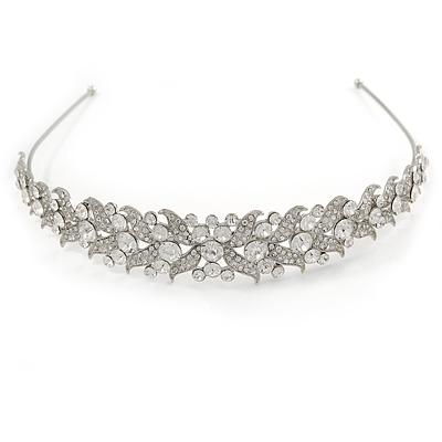 Wide Bridal/ Wedding/ Prom Rhodium Plated Clear Austrian Crystal Leaf Tiara Headband