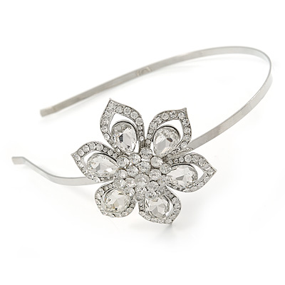 Bridal/ Wedding/ Prom Rhodium Plated  Clear Crystal Flower Tiara Headband