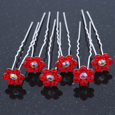Bridal/ Wedding/ Prom/ Party Set Of 6 Red Austrian Crystal Daisy Flower Hair Pins In Silver Tone