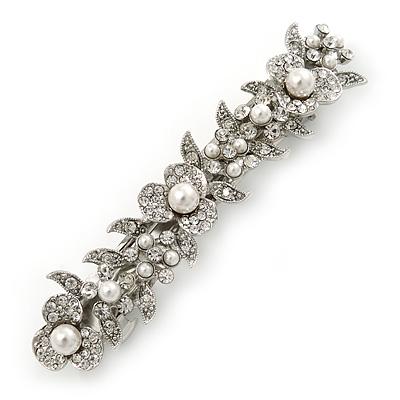 Bridal Wedding Prom Silver Tone Glass Pearl, Crystal Floral Barrette Hair Clip Grip - 90mm W