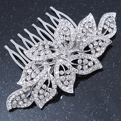Bridal/ Prom/ Wedding/ Party Rhodium Plated Clear Austrian Crystal Leaf Side Hair Comb - 9cm W