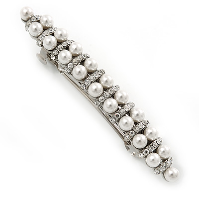 Avalaya Bridal Wedding Prom Silver Tone Glass Pearl, Crystal Barrette Hair Clip Grip - 80mm W