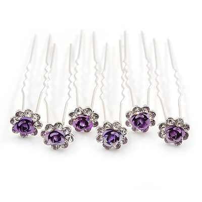 Bridal/ Wedding/ Prom/ Party Set Of 6 Clear Austrian Crystal Purple Rose Flower Hair Pins In Silver Tone
