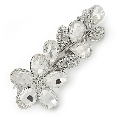 Bridal Wedding Prom Rhodium Plated Clear Austrian Crystal Floral Barrette Hair Clip Grip - 85mm Across