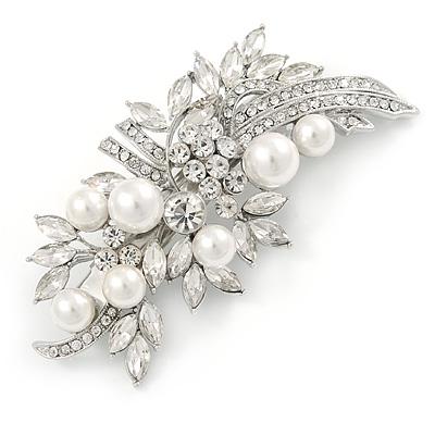Bridal Wedding Prom Silver Tone Glass Pearl, CZ Floral Barrette Hair Clip Grip - 85mm W