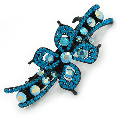 Bridal Wedding Prom Black Tone Teal/ Blue Diamante Flower Barrette Hair Clip Grip - 95mm Across